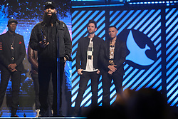 October 16, 2018 - Nashville, TN, U.S. - NASHVILLE, TN - OCTOBER 16: Social Club Misfits win Rap/Hip Hop Recorded Song of the Year during the 49th Annual Dove Awards on October 16, 2018, at Allen Arena in Nashville, TN. (Photo by Jamie Gilliam/Icon Sportswire) (Credit Image: © Jamie Gilliam/Icon SMI via ZUMA Press)