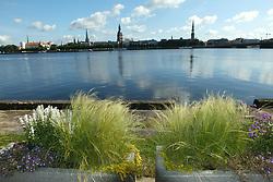 August 8, 2017 - Riga, Latvia, Latvia - Riga, views - summer 2017..Daugava, panorama of the old Riga (Credit Image: © Russian Look via ZUMA Wire)