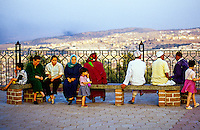 Moroccan families enjoy the view of Fes el-Bali (Old Fes, the Medina) from Borj Nord, Fez (Fes), Morocco