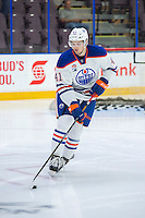 PENTICTON, CANADA - SEPTEMBER 17: Tomas Soustal #41 of Edmonton Oilers warms up with the puck against the Calgary Flames on September 17, 2016 at the South Okanagan Event Centre in Penticton, British Columbia, Canada.  (Photo by Marissa Baecker/Shoot the Breeze)  *** Local Caption *** Tomas Soustal;