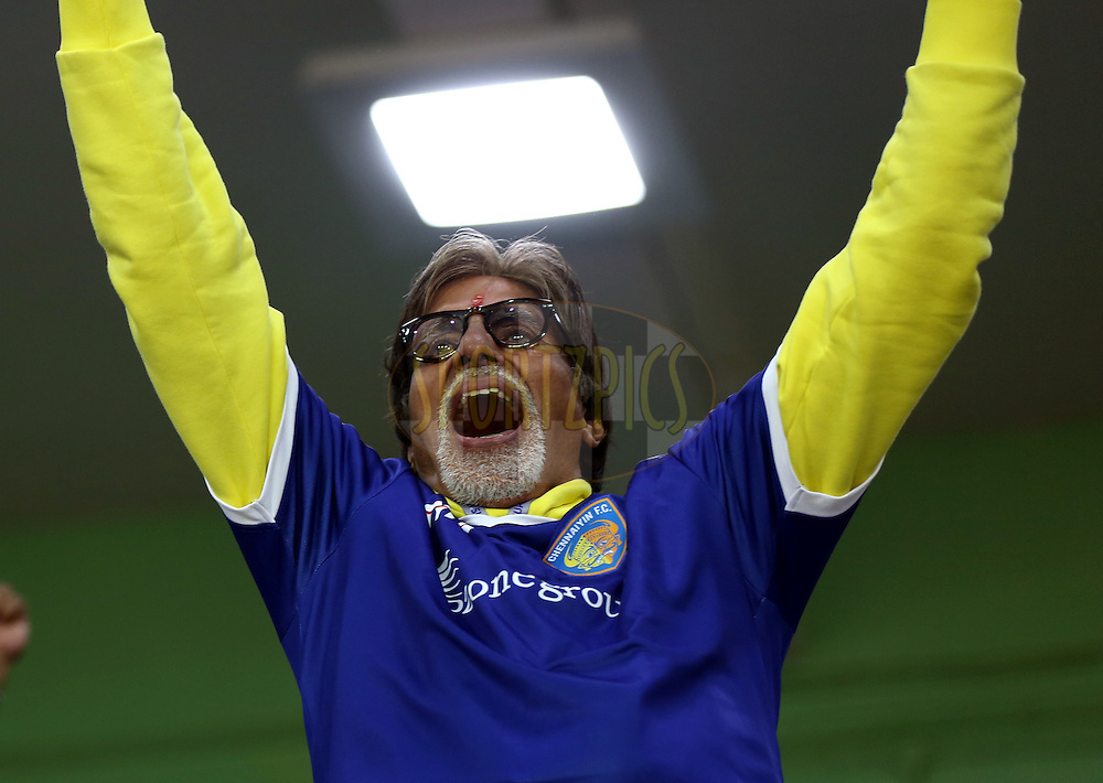 Actor Amitabh Bachchan during match 9 of the Hero Indian Super League between Chennaiyin FC and Kerala Blasters FC held at the Jawaharlal Nehru Stadium, Chennai, India on the 21st October 2014.<br /> <br /> Photo by:  Sandeep Shetty/ ISL/ SPORTZPICS