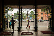 28 MARCH 2012 - HO CHI MINH CITY, VIETNAM:  Looking out of the main post office towards Notre Dame Cathedral in Ho Chi Minh City, Vietnam. Ho Chi Minh City, which used to be known as Saigon, is the largest city in Vietnam and the commercial hub of southern Vietnam.     PHOTO BY JACK KURTZ