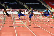 Omar McLeod (JAM) centre, runs for the tape during the men's 110m hurdles in a time of 13.21 ahead of Freddie Crittenden (USA) right, and Daniel Roberts (USA) during the Birmingham Grand Prix, Sunday, Aug 18, 2019, in Birmingham, United Kingdom. (Steve Flynn/Image of Sport)