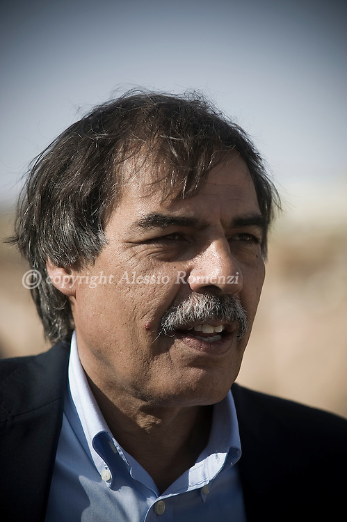 LIBYAN ARAB JAMAHIRIYA, Zintan : National Transitional Council Minister for Oil and Finance Ali Tarhouni arrives at the Military Council offices in Zintan, the rebel stronghold on the Western Libyan front July 12, 2011..ALESSIO ROMENZI