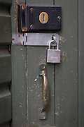 A detail of garden side door locks.