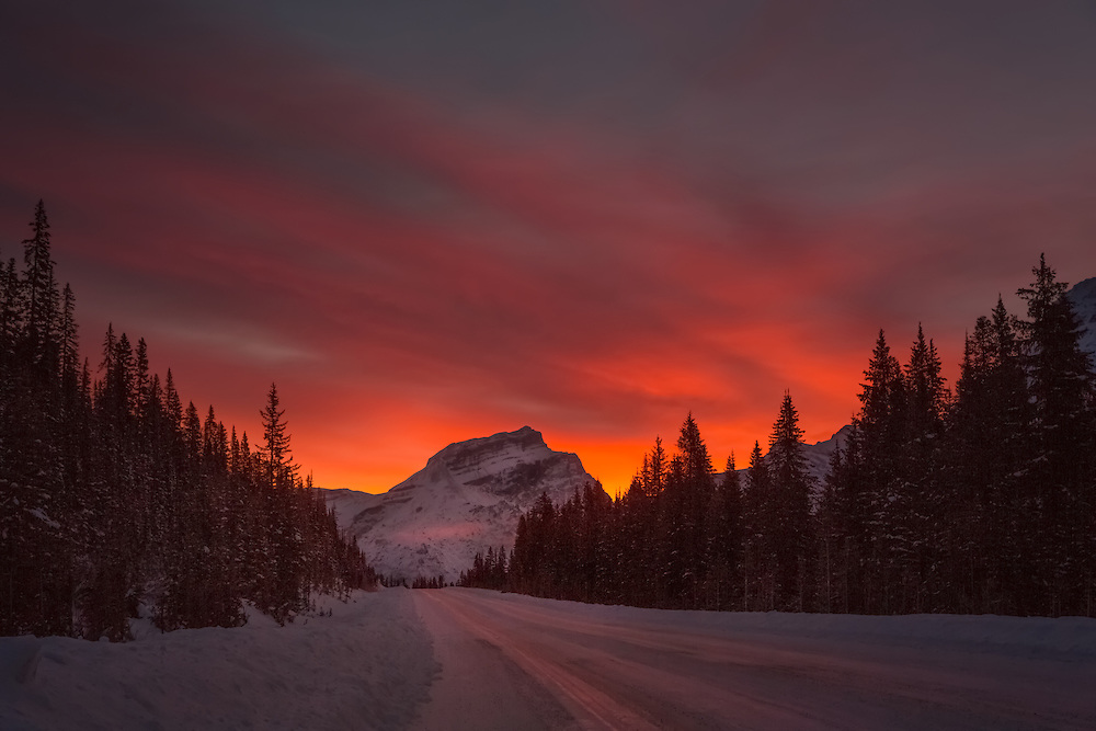 Sunrise along the Icefield Parkway, Banff National Park, Alberta, Canada