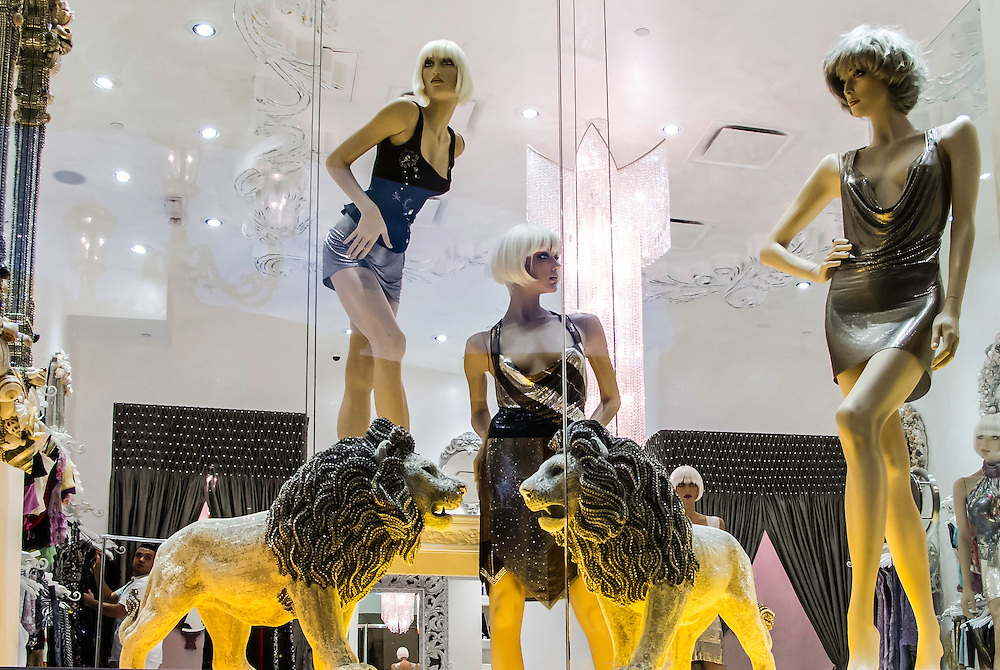 Window displays are an art by itself. Fashion store display in a Las Vegas hotel.