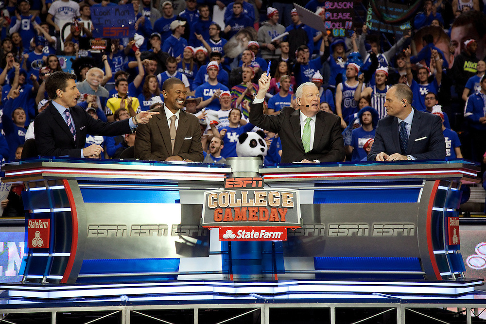 ESPN Gameday announcer Reece Davis, left, Jalen Rose, Digger Phelps and Jay Bilas taped a broadcast from Rupp Arena before the Missouri vs. Kentucky game, Saturday, Feb. 23, 2013 in Lexington.
