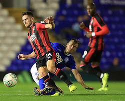 Lewis Cook of Bournemouth is fouled by Maikel Kieftenbeld of Birmingham City - Mandatory by-line: Paul Roberts/JMP - 22/08/2017 - FOOTBALL - St Andrew's Stadium - Birmingham, England - Birmingham City v Bournemouth - Carabao Cup