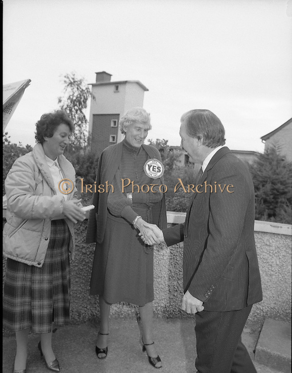"""Charles Haughey Votes in Referendum..1983.07.09.1983.09.07.1983.7th September 1983..Image of Mr Charles Haughey meeting with campaigners on behalf of the """"Yes"""" side of the of the campaign for change...The referendum was a constitutional amendment with regard to the life of the unborn...  It was a divisive campaign with much debate, charge and countercharge by both sides of the argument..Those in the Yes campaign won the day with a vote of 841,233 to a no vote of 416,136."""