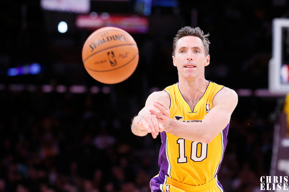 11 February 2014: Los Angeles Lakers point guard Steve Nash (10) passes the ball during the Utah Jazz 96-79 victory over the Los Angeles Lakers at the Staples Center, Los Angeles, California, USA.