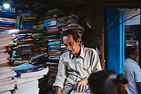 A small book stall along College Street in the university area of Kolkata.