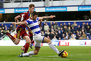 Queens Park Rangers midfielder Pawel Wszolek (15) scores a goal (score 2-1) during the EFL Sky Bet Championship match between Queens Park Rangers and Ipswich Town at the Loftus Road Stadium, London, England on 2 January 2017. Photo by Andy Walter.