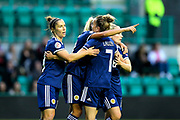 Scotland players celebrate Scotland's first goal (1-0) scored by Claire Emslie (#18) of Scotland during the Women's Euro Qualifiers match between Scotland Women and Cyprus Women at Easter Road, Edinburgh, Scotland on 30 August 2019.