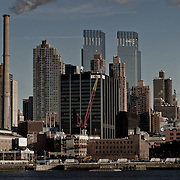Factory in New York skyline.