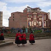 One of the squares of El Alto where new buildings examples of &quot;Andean architecture&quot; are concentrate. The owners are the Aymara traders who have enriched themselves through informal trade.<br /> <br /> Una de las plazas de El Alto donde se concentran los nuevos edificios ejemplos de &quot;arquitectura andina&quot;. Los proprietarios son los comerciantes aymaras que se han enriquecido gracias al comercio informal.