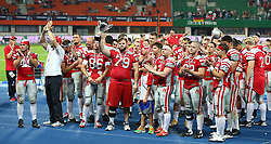 07.06.2014, Ernst Happel Stadion, Wien, AUT, American Football Europameisterschaft 2014, Finale, Oesterreich (AUT) vs Deutschland (GER), im Bild Team Oesterreich mit dem Pokal fuer den 2. Platz // during the American Football European Championship 2014 final game between Austria and Denmark at the Ernst Happel Stadion, Vienna, Austria on 2014/06/07. EXPA Pictures © 2014, PhotoCredit: EXPA/ Thomas Haumer