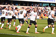Derby County players celebrates their team's equalising goal during the Sky Bet Championship match between Millwall and Derby County at The Den, London, England on 25 April 2015. Photo by David Charbit.
