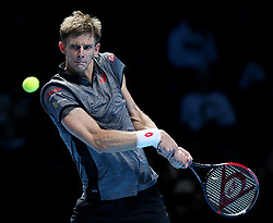 November 13, 2018 - London, UK - KEVIN ANDERSON of South Africa in action against Kei Nishikori of Japan during their match at the Nitto ATP Finals in London. Anderson won 6:0, 6:1.   (Credit Image: © Panoramic via ZUMA Press)
