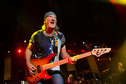 © Licensed to London News Pictures. 16/10/2013. London, UK.   Deep Purple performing live at The Roundhouse. Deep Purple consist of members Ian Paice (drums, percussion),<br /> Roger Glover (bass),Ian Gillan (vocals),Steve Morse (guitar), Don Airey (organ).  In this pic - Roger Glover (left), Ian Paice (middle), Don Airey (right).  Photo credit : Richard Isaac/LNP