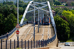 Park Square bridge that carries Sheffield Supertram from Commercial Street across Park Square roundabout  before splitting off to Meadowhall and Halfway<br /> <br /> Copyright Paul David Drabble<br />  15 August 2019<br />  www.pauldaviddrabble.co.uk