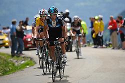 Riche Porte leads race leader Bradley Wiggins over the top of the Col de la Joux Plane during stage 6 of the Criterium du Dauphine. Photo by Simon Parker/SPactionimages