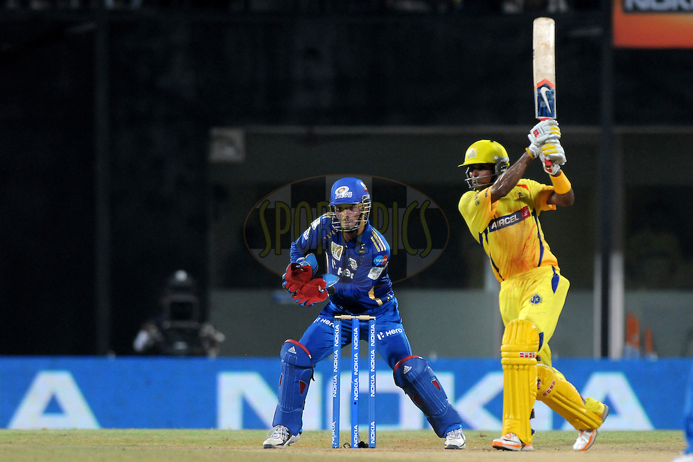 Subramaniam Badrinath of Chennai Super Kings bats  during match 3 of the NOKIA Champions League T20 ( CLT20 )between the Chennai Superkings and the Mumbai Indians held at the M. A. Chidambaram Stadium in Chennai , Tamil Nadu, India on the 24th September 2011..Photo by Pal Pillai/BCCI/SPORTZPICS.