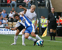 Photo: Steve Bond.<br />Derby County v RCD Espanyol. Pre Season Friendly. 04/08/2007. Francisco Rufete (front) is challanged by jay McEveley
