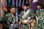 Men preparing ahead of the Tenjin Festival (Tenjin Matsuri) in Osaka.
