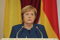 November 1, 2018 - Kiev, Ukraine - Federal Chancellor of Germany Angela Merkel is seen after the negotiations with President of Ukraine Petro Poroshenko (not pictured) during their meeting with Ukrainian and foreign journalists in Kyiv, Ukraine, Nov. 1, 2018. German Christian Democratic Party, CDU, chairwoman and Chancellor Angela Merkel announces during the a news conference on Oct. 29, 2018 she will step down as head of her conservative party after 18 years in December and won't seek a fifth term as German chancellor. (Credit Image: © Sergii Kharchenko/NurPhoto via ZUMA Press)