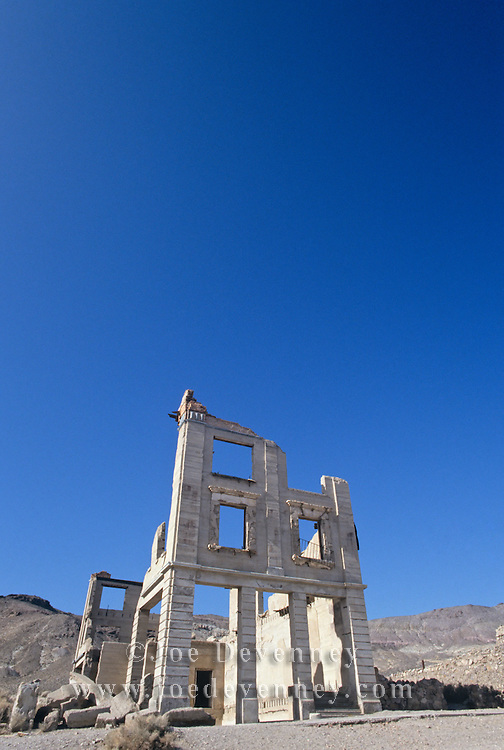 Ghost town in the desert of Death Valley. Rhyolite, California