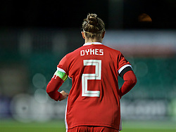 NEWPORT, WALES - Thursday, April 4, 2019: Wales' captain Loren Dykes wearing the number two shirt during an International Friendly match between Wales and Czech Republic at Rodney Parade. (Pic by David Rawcliffe/Propaganda)