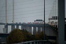 © Licensed to London News Pictures . 15/11/2014 . Kent , UK . Traffic backs up across the Dartford Crossing bridge as the toll on the south side of the crossing closes without notice this morning (Saturday 15th November 2014) . Photo credit : Joel Goodman/LNP