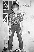 Neville posed with flag, Hawthorne Road, High Wycombe, UK, 1980's