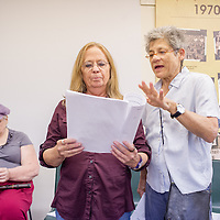 "Rhea, right, directs Ricky, center, and Jamie, senior LGBT members of *eRa* , a writing group at the Q Center in Portland, while they rehearse ""Speaking Out at Last: Stories from the LGBTQ Community"", a narrative theater piece chronicling experiences of childhood, first love, homophobia, AIDS, and aging. 10:58am"