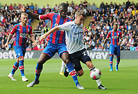 Football - 2019 / 2020 Premier League - Crystal Palace vs. Everton<br /> <br /> Seamus Coleman of Everton and Christian Benteke of C Palace, at Selhurst Park.<br /> <br /> COLORSPORT/ANDREW COWIE