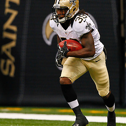 August 17, 2012; New Orleans, LA, USA; New Orleans Saints running back Travaris Cadet (39) against the Jacksonville Jaguars during the first quarter of a preseason game at the Mercedes-Benz Superdome. Mandatory Credit: Derick E. Hingle-US PRESSWIRE