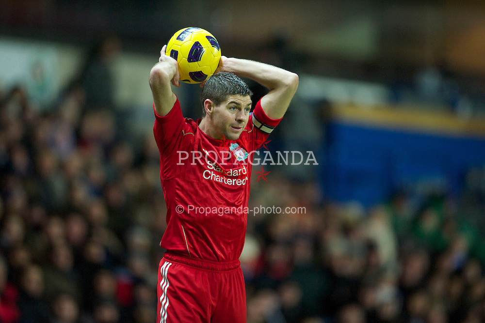 BLACKBURN, ENGLAND - Wednesday, January 5, 2011: Liverpool's captain Steven Gerrard MBE in action against Blackburn Rovers during the Premiership match at Ewood Park. (Pic by: David Rawcliffe/Propaganda)