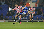 Sunderland midfielder Lee Cattermole (6) makes a tackle on Ipswich Town midfielder Tristan Nydam (22) during the EFL Sky Bet Championship match between Ipswich Town and Sunderland at Portman Road, Ipswich, England on 26 September 2017. Photo by Phil Chaplin.