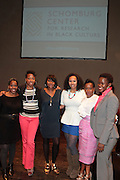 May 2, 2012- New York, United States- (L-R) Writer Akiba Solomon, Writer Nicole Moore, Kierna Mayo, Editorial Director, Digital, EBONY Magazine, Jamilah Lemieux, Digital Content Editor, Ebony.com, Writer Karen Goode and Alicia Young, Assistant Director, The Schomburg Center pose onstage for a panelists photograph at the ' Nice with Hers ' Conversation moderated by Nicole Moore, of TheHotness.com in collaboration with Ebony.com held at the Schomburg Center on May 2, 2012 in the village of Harlem in New York City. Nicole Moore speaks with some of the fearless female journalists who wrote the narrative of how the world came to know hip hop, culture, fashion, and itself. (Photo by Terrence Jennings).