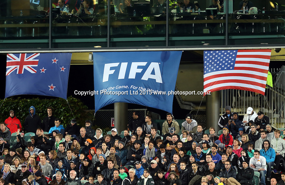 Flags. 2015 FIFA U20 World Cup, New Zealand v USA, QBE Stadium Auckland, Tuesday 2nd June 2015. Copyright Photo: Shane Wenzlick