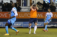 Andy Drury of Luton Town (centre) holds his head in his hands after missing chance to open the scoring during the Sky Bet League 2 match at Kenilworth Road, Luton<br /> Picture by David Horn/Focus Images Ltd +44 7545 970036<br /> 10/02/2015