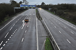 © Licensed to London News Pictures. 26/12/2015<br /> An empty M25 motorway this morning at Junction 5, near Sevenoaks in Kent.<br /> (Byline:Grant Falvey/LNP)