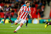 Stoke City midfielder Joe Allen (4) in action  during the EFL Sky Bet Championship match between Stoke City and Swansea City at the Bet365 Stadium, Stoke-on-Trent, England on 18 September 2018.