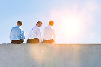 Rear view of mature thoughtful businessmen sitting on office rooftop