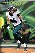 Philadelphia Eagles tight end Zach Ertz (86) tosses the ball to an official after catching a third quarter touchdown pass that cuts the Cincinnati Bengals lead to 29-7 during the 2016 NFL week 13 regular season football game against the Cincinnati Bengals on Sunday, Dec. 4, 2016 in Cincinnati. The Bengals won the game 32-14. (©Paul Anthony Spinelli)