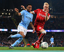 Raheem Sterling of Manchester City takes on Hordur Magnusson of Bristol City - Mandatory by-line: Matt McNulty/JMP - 09/01/2018 - FOOTBALL - Etihad Stadium - Manchester, England - Manchester City v Bristol City - Carabao Cup Semi-Final First Leg