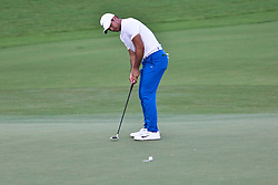 August 12, 2017 - Charlotte, North Carolina, United States - Jason Day putts the 18th green during the third round of the 99th PGA Championship at Quail Hollow Club. (Credit Image: © Debby Wong via ZUMA Wire)