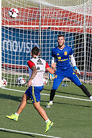 Spanish Paco Alcacer and David de Gea during the first training of the concentration of Spanish football team at Ciudad del Futbol de Las Rozas before the qualifying for the Russia world cup in 2017 August 29, 2016. (ALTERPHOTOS/Rodrigo Jimenez)