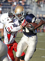 Vista Murrieta's Dwayne Johnson (11) sheds a tackle attempt by Great Oak's Chance Walker (21) in the Junior Varsity game played at Vista Murrieta High School.  Image Credit: Amanda Schwarzer